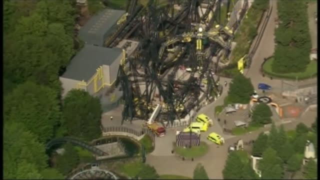 Alton Towers criticised for reopening ride which seriously injured people last summer LIB / 262015 Alton Towers Various shots of emergency service...