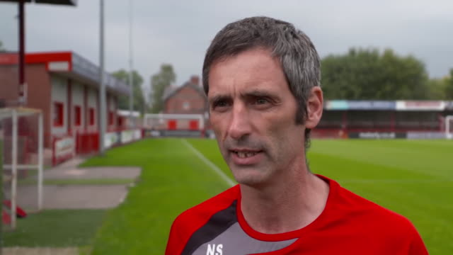 stockvideo's en b-roll-footage met altrincham fc assistant manager neil sorvel saying you need fans to attend matches during coronavirus crisis - media interview