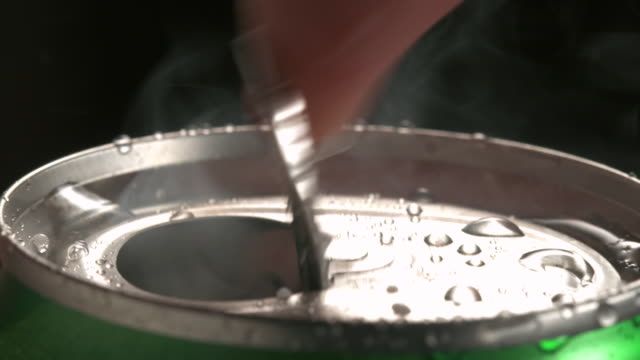 ECU Aluminum can being opened / Los Angeles, California, United States