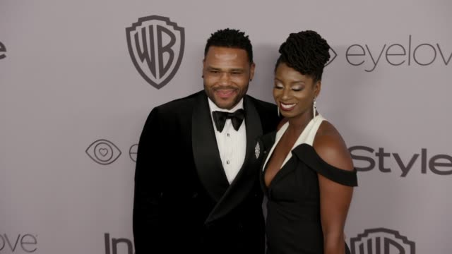alvina stewart and anthony anderson at the warner bros. pictures and instyle host 19th annual post-golden globes party at the beverly hilton hotel on... - anthony anderson stock videos & royalty-free footage