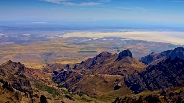 Alvord desert playa in distance from summit of Steens Mountain in summer