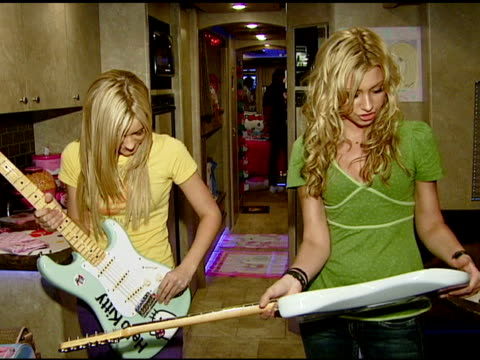 aly and aj presented with custom fender guitars to kick off summer tour irvine ca 7/12/07 in hollywood california on july 16 2007 - irvine california stock videos & royalty-free footage