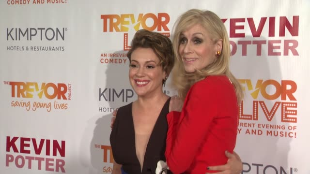 Alyssa Milano and Judith Light at The Trevor Project's TrevorLIVE New York Arrivals at Marriott Marquis Hotel on June 13 2016 in New York City