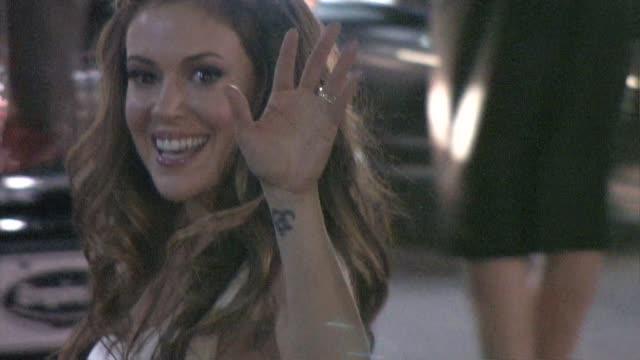 alyssa milano at katsuya in hollywood at the celebrity sightings in los angeles at los angeles ca - alyssa milano stock-videos und b-roll-filmmaterial