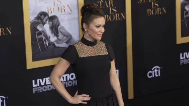 MO Alyssa Milano at the 'A Star Is Born' Los Angeles Premiere at The Shrine Auditorium on September 24 2018 in Los Angeles California