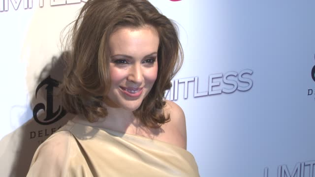 alyssa milano at the 'limitless' world premiere arrivals at new york ny - alyssa milano stock videos & royalty-free footage
