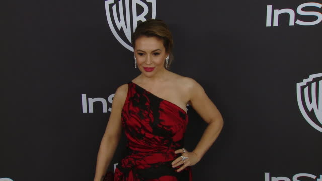 alyssa milano at the warner bros and instyle host 20th annual postgolden globes party at the beverly hilton hotel on january 6 2019 in beverly hills... - alyssa milano stock videos & royalty-free footage