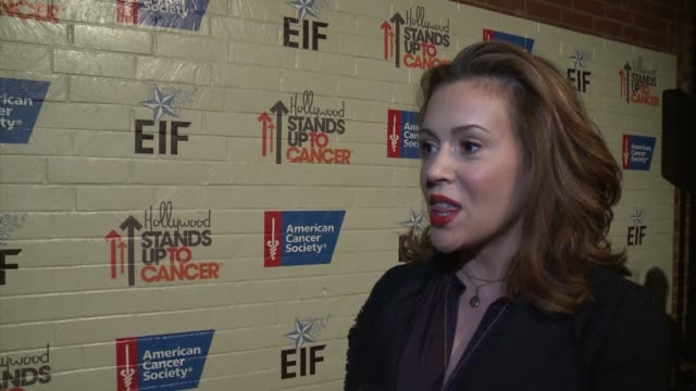 interview alyssa milano on her personal experiences with cancer at hollywood stands up to cancer on in los angeles california - alyssa milano stock videos & royalty-free footage
