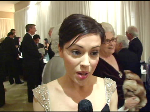 Alyssa Milano on her Thanksgiving plans at the 15th Annual Associates for Breast Cancer and Prostate Cancer Studies 'Winter Wonderland' Gala at the...