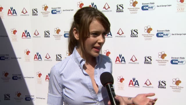Alyssa Milano on what she will be doing at the event at the 2nd Annual National Kidney Foundation Celebrity Golf Classic at Toluca Lake CA