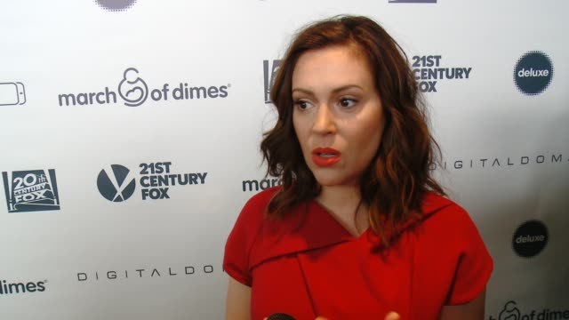 interview alyssa milano on why she supports the march of dimes what she did to ensure a healthy pregnancy the best part of motherhood and their plans... - alyssa milano stock videos & royalty-free footage