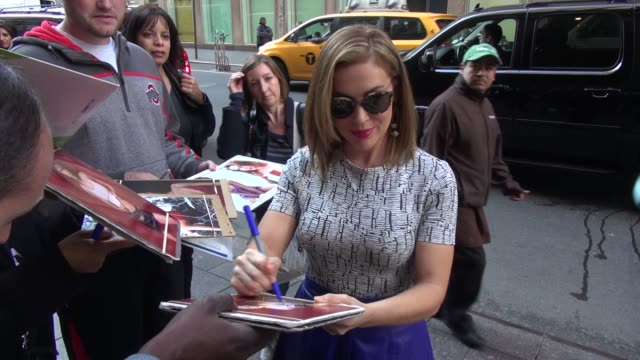 Alyssa Milano with fans at the SiriusXM Radio studio at Celebrity Sightings in New York in New York NY on