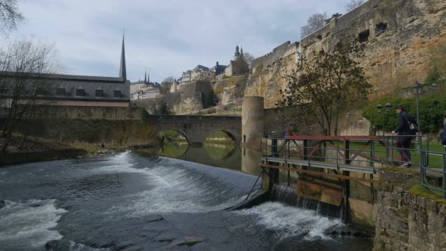 Alzette River in lower town Grund and Bock Casemates, Luxembourg City, Grand Duchy of Luxembourg, Europe