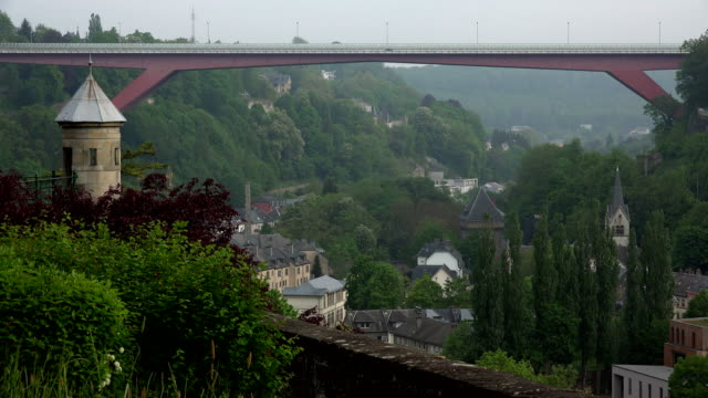 alzette valley and pont grande-duchesse charlotte, luxembourg city, luxembourg - luxembourg benelux stock videos & royalty-free footage