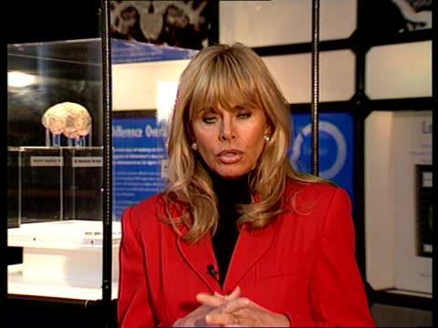Alzheimer's disease ENGLAND London 'Science Museum' 2 way CMS Britt Ekland intvwd SOT how disease affected her mother SCREEN