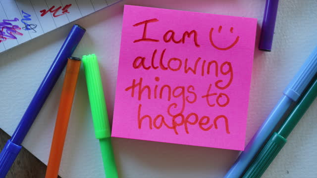 """""""i am allowing things to happen in a relaxed way""""  affirmation notes - sticky stock videos & royalty-free footage"""