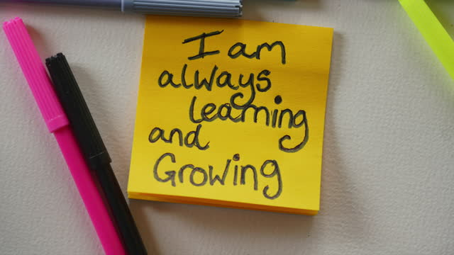 """""""i am always learning and growing"""" affirmation notes - sticky stock videos & royalty-free footage"""