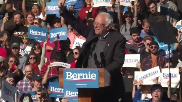 i am back says democratic presidential candidate bernie sanders who suffered a mild heart attack this month as he addresses supporters at a rally in... - sander stock videos & royalty-free footage