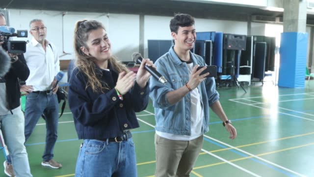 amaia romero and alfred garcia of spain visit the spanish institute in lisbon some days before taking part at 2018 eurovision song contest - eurovision song contest stock videos & royalty-free footage