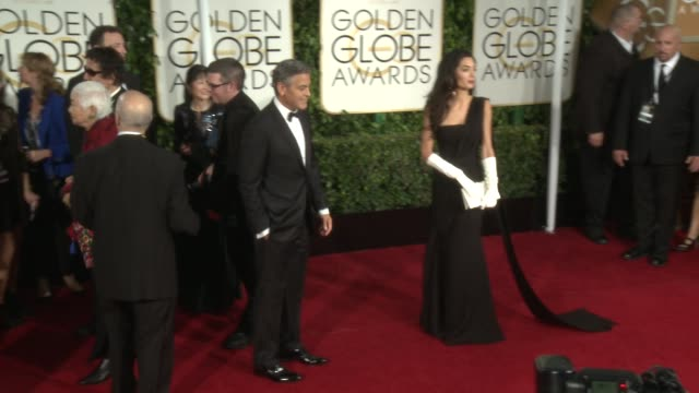 amal alamuddin clooney, george clooney at 72nd annual golden globe awards - arrivals at the beverly hilton hotel on january 11, 2015 in beverly... - golden globe awards stock videos & royalty-free footage