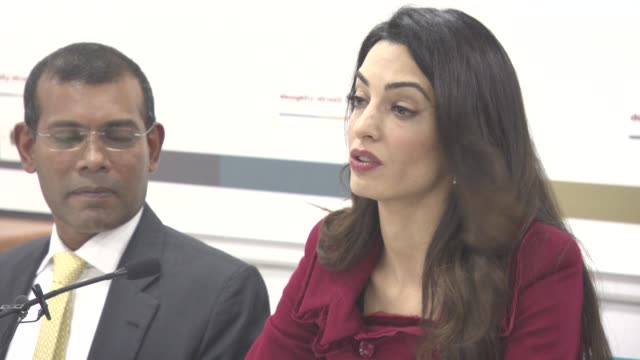 INTERVIEW Amal Clooney on sanctions on The Maldives at Press Conference with President Nasheed of the Maldives his Lawyers Jared Genser Amal Clooney...