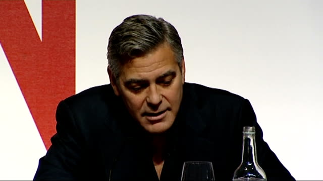 amal clooney supports greek claim on the elgin marbles; t12021446 / tx england: london: george clooney speaking at press conference sot - george clooney stock videos & royalty-free footage