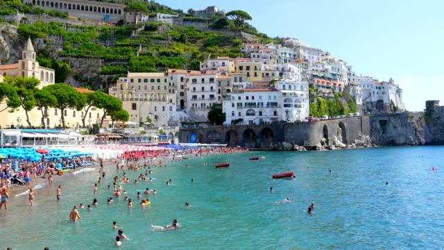 amalfi beach, salerno, italy - amalfi stock videos and b-roll footage