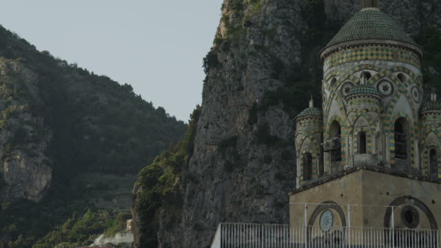 ms td amalfi cathedral and buildings at amalfi beach / italy - amalfi stock videos and b-roll footage