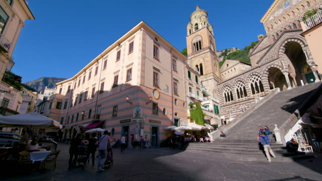 amalfi  cathedral & steps, amalfi, province of salerno, italy - town stock videos & royalty-free footage