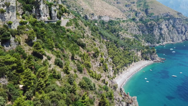 amalfi coast, aerial view - bay of water stock videos & royalty-free footage