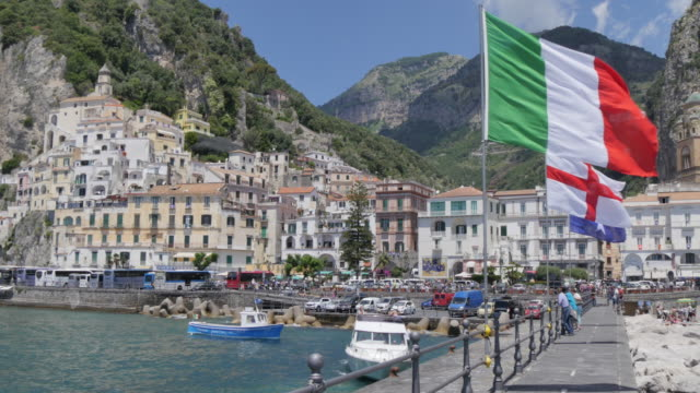 Amalfi from Harbour, Amalfi, Costiera Amalfitana (Amalfi Coast), UNESCO World Heritage Site, Campania, Italy, Europe