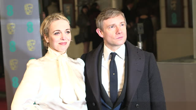amanda abbington martin freeman at ee british academy film awards 2013 red carpet arrivals at the royal opera house on february 10 2013 in london... - martin freeman stock videos and b-roll footage
