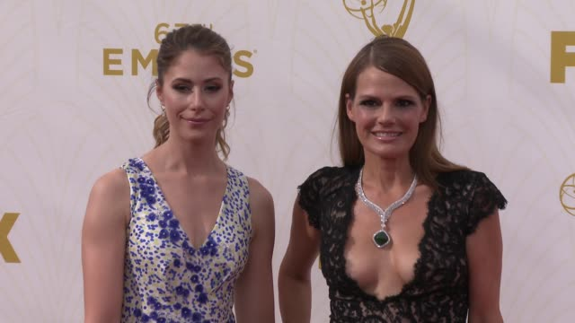 Amanda Crew and Suzanne Cryer at the 67th Annual Primetime Emmy Awards at Microsoft Theater on September 20 2015 in Los Angeles California
