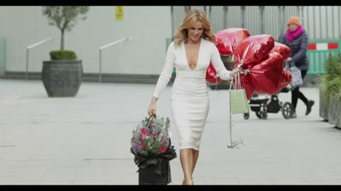 amanda holden celebrates her 50th birthday outside the global radio studios on february 12, 2021 in london, england. - celebrity sightings stock videos & royalty-free footage