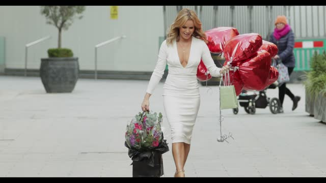 amanda holden celebrates her 50th birthday outside the global radio studios on february 12, 2021 in elstree, england. - celebrity sightings stock videos & royalty-free footage
