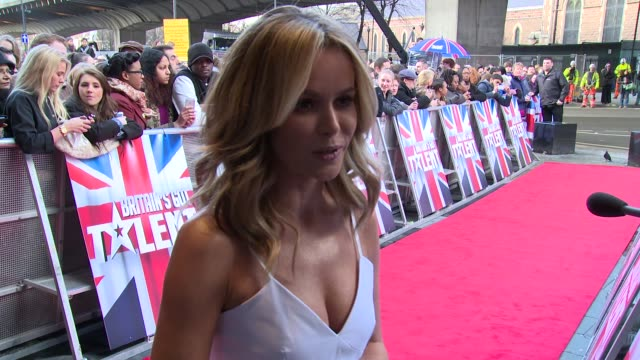 interview amanda holden on contestants and the 'new simon cowell' at britain's got talent' arrivals - britain's got talent stock-videos und b-roll-filmmaterial