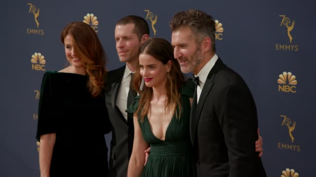 vídeos de stock, filmes e b-roll de amanda peet and david benioff at the 70th emmy awards arrivals at microsoft theater on september 17 2018 in los angeles california - 70th annual primetime emmy awards