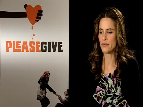 amanda peet on how she loved the character at first before she realised how despicable she is and how uncensored she is at the please give interviews... - amanda peet stock videos & royalty-free footage