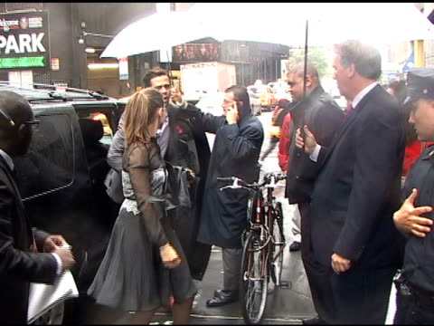 amanda peet smiles a little as she arrives at the nbc upfronts in new york 05/16/11 - amanda peet stock videos & royalty-free footage