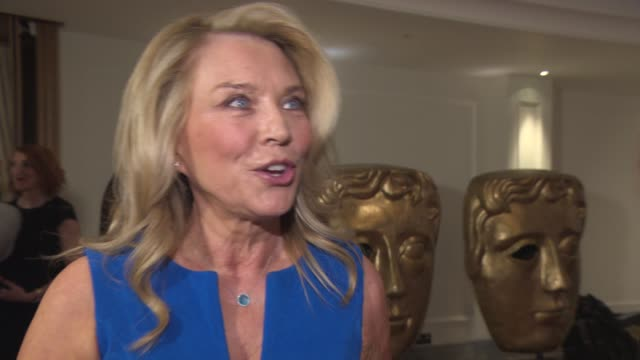 amanda redman on going to the gym, healthy eating in the week, no yoga, drinking tonight at bafta nominees party at corinthia hotel london on april... - amanda redman stock-videos und b-roll-filmmaterial