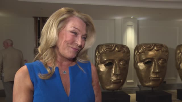 amanda redman on 'not like that, like' the script, lack of good rolls for women, missing 'new tricks' cast, royal baby at bafta nominees party at... - amanda redman stock-videos und b-roll-filmmaterial