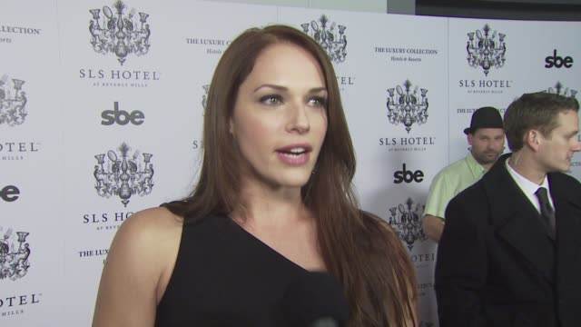 Amanda Righetti on coming out tonight on what she looks for in a hotel on what she's looking forward to tonight and on what she expects from the SLS...