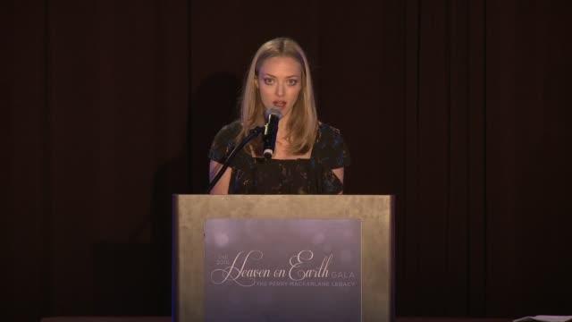 SPEECH Amanda Seyfried at 2016 Heaven on Earth Gala The Perry MacFarlane Legacy Honoring 20th Century Fox TV Animation Amanda Seyfried and Karma...