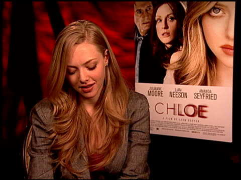 amanda seyfried on doing a remake at the 'chloe' junket at los angeles ca - chloe designer label stock videos and b-roll footage