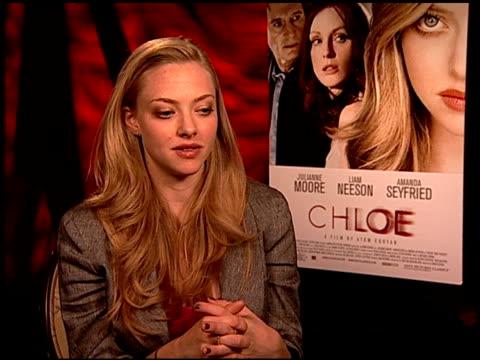 Amanda Seyfried on kissing a man vs a woman at the 'Chloe' Junket at Los Angeles CA