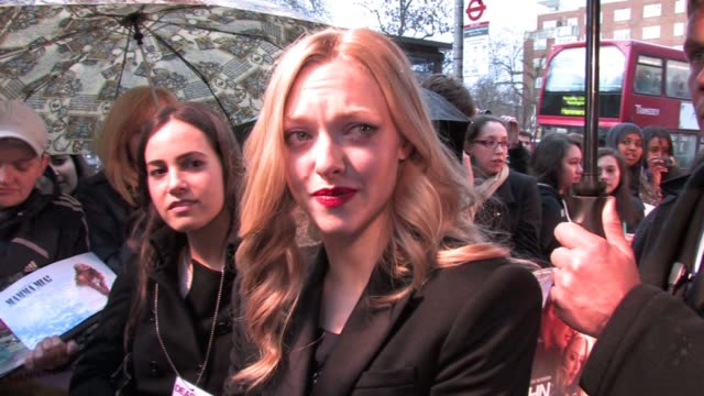 Amanda Seyfried on men crying during the film or reading the book on working others on set with Channing Tatum at the Dear John UK Premiere at London...