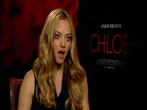 amanda seyfried on playing the character 'chloe' at the chloe interviews at london england - chloe designer label stock videos and b-roll footage
