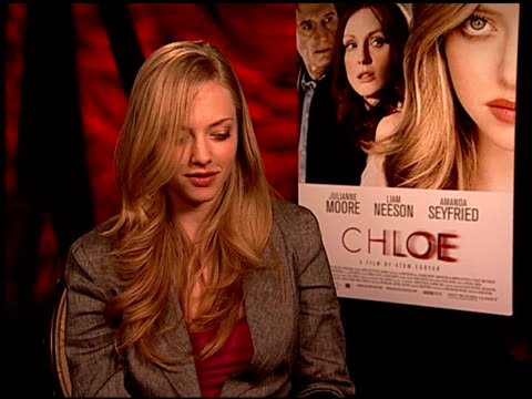 amanda seyfried on the experience of working with julianne moore and liam neeson at the 'chloe' junket at los angeles ca - chloe designer label stock videos and b-roll footage