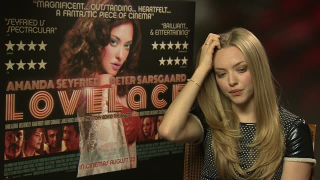 amanda seyfried on the research, finding out the back story on linda lovelace at 'lovelace' interview on august 22, 2013 in london, england. - linda lovelace video stock e b–roll