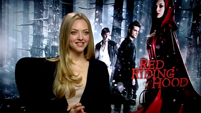 Amanda Seyfried on wearing the riding hood at the Red Riding Hood Interviews at London England